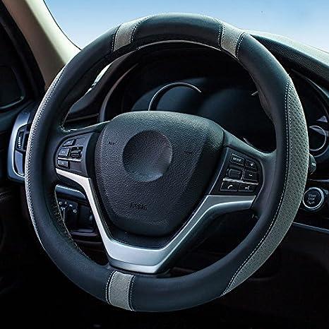XuanMax Nouveau Universel Housse de Volant Microfibre Cuir Vehicule Anti Slip Couvre Volant de Voiture Couverture Respirant Auto Car Steering Wheel Cover 38cm Rose