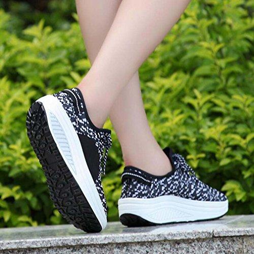 Solshine Damen Schnürer Sportschuhe erhöhte mit Keilabsatz Atmungsaktive Freizeitschuhe Schwarz
