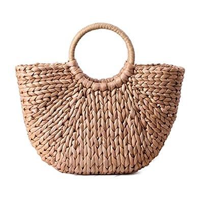 SODIAL Sac a main pour femme Grand sac fourre-tout epaule Sacs d'ete de seau Femmes Sac a rotin a pompon tresse (couleur primaire) tWiy2zoZ
