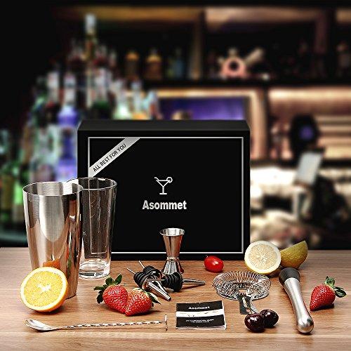 85%OFF Asommet Premium 8 pièces Ensemble de cocktail avec Boston Shaker,  Recettes livre 81dc31a55b53