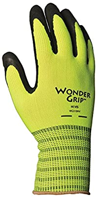 Wonder Grip WG310HVXL High-Visibility Extra Grip Seamless Knit Work Gloves, Double-Coated Black Nitrile Palm, Excellent Wet or Dry Grip, X-Large, Hi-Viz Yellow
