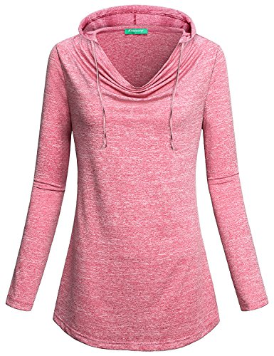 Sweatshirts for Women ,Kimmery Ladies Long Sleeve Stretch Tops Cowl Collar Fold Basic Pullover Great T Shirt Cute Hoodie Red (Hooded Stretch Sweatshirt)