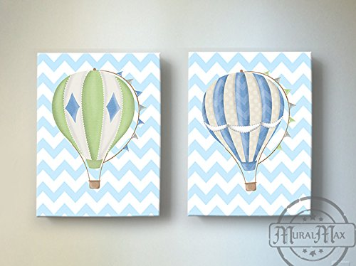 MuralMax - Chevron Hot Air Balloon Theme - Canvas Nursery Décor Collection - Set of 2 - Size - 11 x 14 by MuralMax