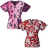 Medgear 2-Pack Womens Fashion Scrub Tops Mock-Wrap Style with Back Ties