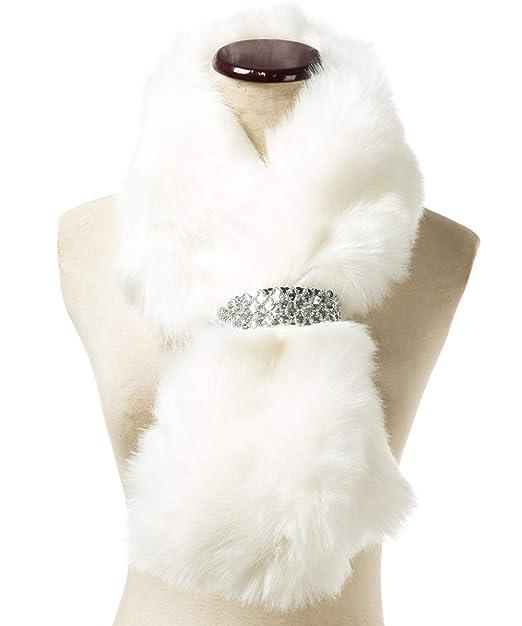 Saferin Falso invierno abrigo de la bufanda de piel sintética de las mujeres para boda (1-Blanco): Amazon.es: Ropa y accesorios