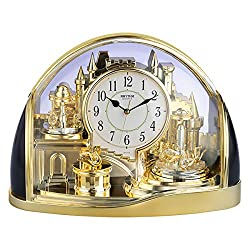 CAO-Decor Gold Crystals Mantel Clocks, Stylish Rhythm Mantle Table Clock Tone Mantel Clock, Quartz Silent Clock with Rotating Pendulum, Desk Shelf Clock,32.4×22.7cm