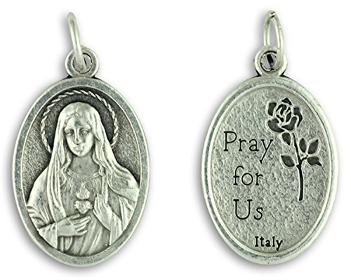 LOT of 5 - Immaculate Heart of Mary Medal - Silver Oxidized Die-Cast - 1
