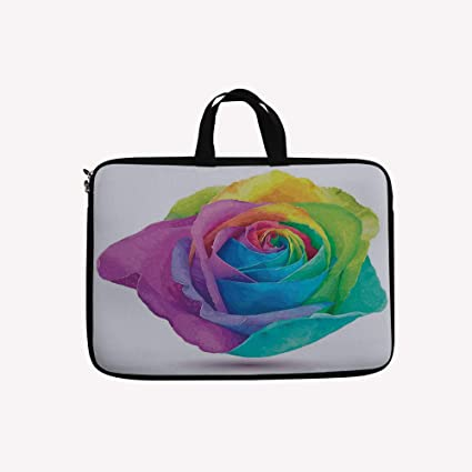e9aa80e4c 3D Printed Double Zipper Laptop Bag,Design of Futuristic Large Size Rose in  Spectrum,