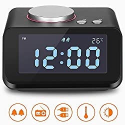 Alarm Clock, Clock Radio with Dual USB Charging Ports, 6 Levels Adjustable Brightness 2 Groups of Alarm Time, Loud Alarm Clock, Alarm Clock Radio for Heavy Sleepers, Music Speaker