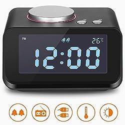 Alarm Clock, Clock Radio with Dual USB Charging Ports, 6 Levels Adjustable Brightness 2 Groups of Alarm Time, Loud Alarm Clock, Alarm Clock Radio for Heavy Sleepers, Music Speaker