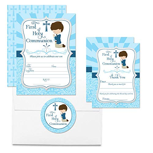 Deluxe First Holy Communion Religious Party for Boys Bundle, Includes 20 Each of 5