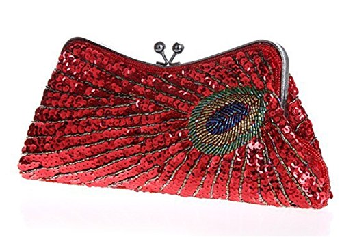 Evening Wedding Purse Red Clutch Bridal Party Handbag Bags Beaded Gifts Sequins 4qrA4