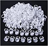 #7: 200 Pcs Disposable Plastic Makeup Glue Rings - Nail Art Tattoo Glue Holder Glue Rings for Eyelash Extensions Adhesive Pigment Holders Finger Hand Beauty Tools