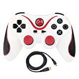 Kepisa Wireless Bluetooth Controllers For PS3 Double Shock - Bundled with USB charge cord (WhiteRed)