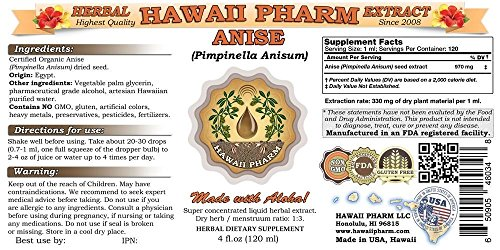 Anise Liquid Extract, Organic Anise (Pimpinella Anisum) Seed Tincture Supplement 2 oz by HawaiiPharm (Image #1)