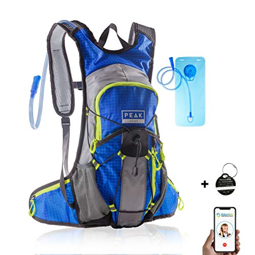 Peak Gear Hydration Backpack – BPA-Free Bladder, 2L Water Pack – Includes Lifetime Lost Found ID