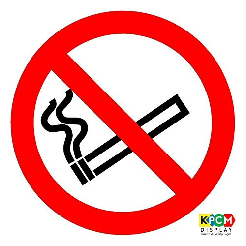 (ISO Safety Label Sign - International No Smoking Symbol - Self adhesive sticker 150mm Diameter )