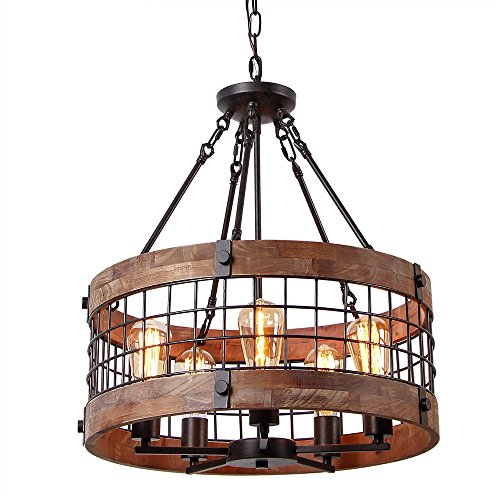 Anmytek Round Wooden Chandelier Metal Pendant Five Lights Decorative Lighting Fixture Antique Ceiling Lamp (Five Lights)