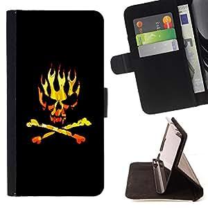 - SKULL GOLDEN FLAMES CROSSBONES BLACK - - Prima caja de la PU billetera de cuero con ranuras para tarjetas, efectivo desmontable correa para l Funny HouseFOR LG G3
