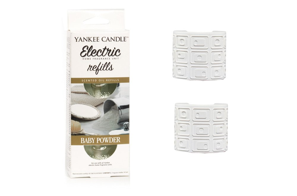 YANKEE CANDLE Scent Plug In Air Freshener STARTER SET - 2 x WHITE plugs and 2 x Refills (1 Twinpack) (BABY POWDER) Cheshire Home Fragrance