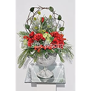 Beautifull Red Roses & Snowball Fern Foliage Table Vase Display 83