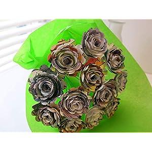 "Scalloped Comic Book Paper Flowers Bunch, 1 Dozen 1.5"" Roses on Stems, Cartoon Theme Bridal Shower Decoration, Home Decor, Superhero Birthday Party Decor Centerpiece 4"