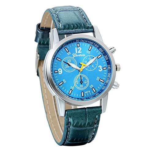 JewelryWe Business Casual Men's Quartz Wrist Watch Blue Dial Leather Strap Watches