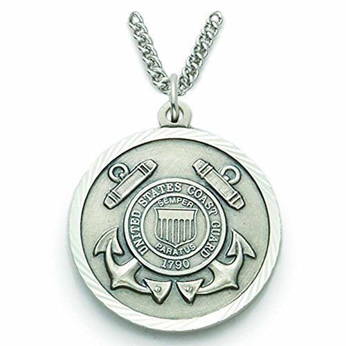 TrueFaithJewelry Sterling Silver United States Coast Guard Medal with Saint Michael Back, 7/8 (Coast Guard Medal)