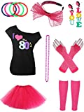 Jetec 80s Costume Accessories Set Necklace Bangle Leg Warmers Earrings Gloves Tutu Skirt T-Shirt for Party Accessory (M, Set 1)