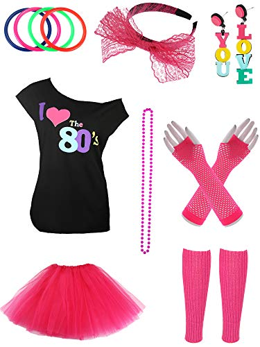 Jetec 80s Costume Accessories Set Necklace Bangle Leg Warmers Earrings Gloves Tutu Skirt T-Shirt for Party Accessory (S, Set -