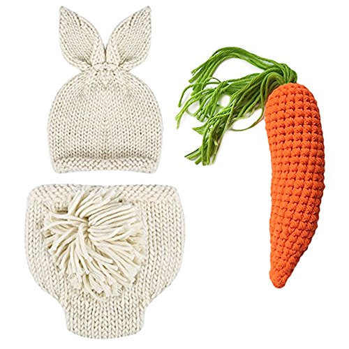 Newborn Photography Props Easter Bunny Rabbit Costume Crochet Knit Outfits 0 to 6 Months (Beige, 0-3) -