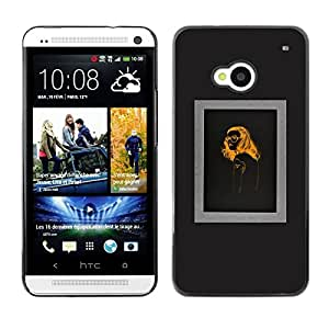 FlareStar Colour Printing Woman Fashion Orange Black Design cáscara Funda Case Caso de plástico para HTC One M7