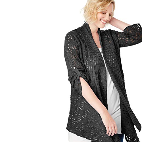 (Woman Within Women's Plus Size Open Front Pointelle Cardigan - Black, 1X)