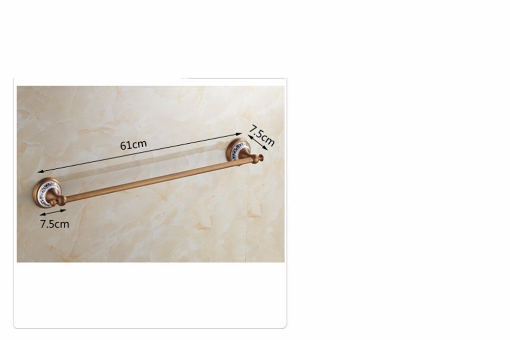 XXSZKAA Antique Bathroom Accessories Towel Bar Vintage Towel Bar Copper Brushed Single Spa Bath Ceramic Base Decoration, 60Cm by XXSZKAA-Towel rack (Image #4)