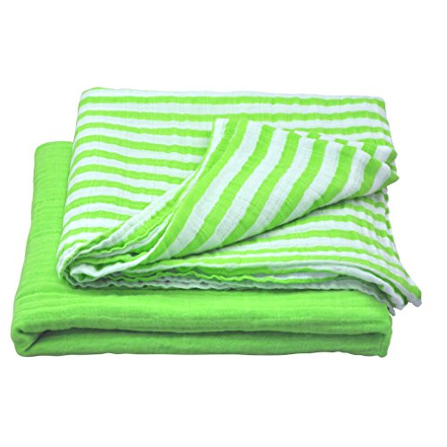 green sprouts Muslin Swaddle Blankets made from Organic Cotton,Green Set Le Top Receiving Blanket