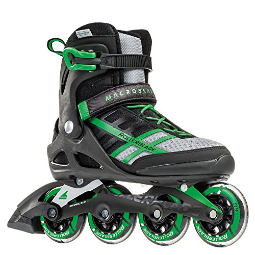 Rollerblade Rollerblade Macroblade 84 Mens Adult Fitness Inline Skate - Black/Green - 84 mm / 84A Wheels with SG7 Bearings - Performance Skates - US size 11, Black/Green, Size 11 ()