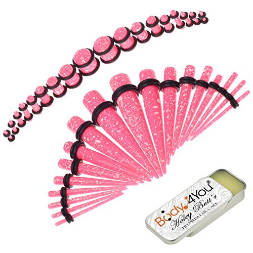 BodyJ4You 37PC Gauges Kit Ear Stretching Aftercare Balm 14G-00G Pink Dots Splatter Acrylic Taper Plug ()