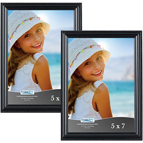 Icona Bay 5x7 Black Picture Frames (5 x 7, 2-Pack, Black), Wall Mount or Table Top Black Picture Frame, Display 5 by 7 Frame Vertically, or Horizontally as 7x5, Inspirations (Wall Mount Brick Set)