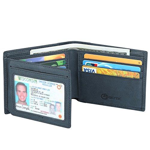 Men's Wallet - RFID Blocking Cowhide Leather Vintage Trifold Wallet (Mazarine) Cowhide Tri Fold Wallet