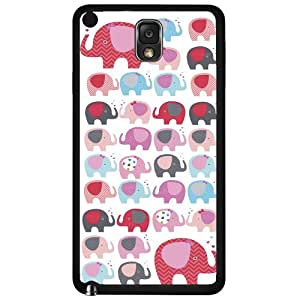 Girly Red and Blue Elephants Pattern Hard Snap on Phone Case (Note 3 III)