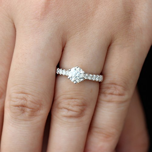 DOVEGGS 1.35CTW Center 6.5mm H Color 3mm Width Moissanite Engagement Ring Solitare with Accents Platinum Plated Silver