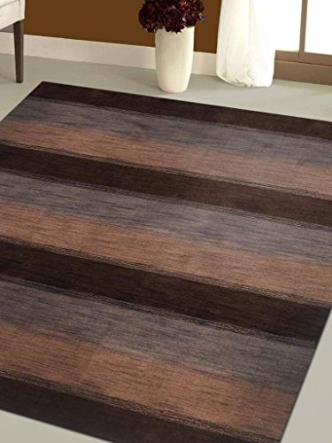 Rugsotic Carpets Hand Knotted Loom Woolen 5' x 8' Solid Area Rug Dark Brown Beige L00206 (Dark Beige Rectangle Rug)