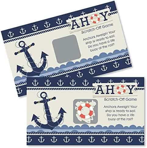 f7b5e6970 Big Dot of Happiness Ahoy Nautical - Baby Shower or Birthday Party Game  Scratch Off Cards