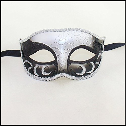 Luxury Mask Unisex Sparkle Venetian Mask Mardi Gras Black/Silver, One Size (Venetian Half Mask)