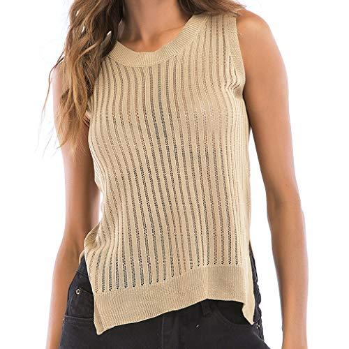 Women's Solid Tank Tops,Sunyastor Openwork Round Neck Sling Vest Hem Split Backless Sleeveless Blouse T-Shirt Sweater Top Beige