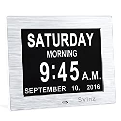 NEW Dual Alarm Clock - SVINZ Day Clock Digital Calendar - Extra Large Non-Abbreviated Day & Month - Excellent for Impaired Vision - Brushed Silver - SDC006