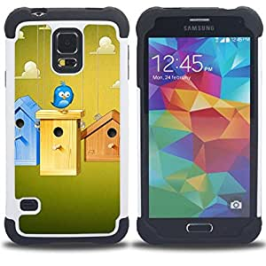 GIFT CHOICE / Defensor Cubierta de protección completa Flexible TPU Silicona + Duro PC Estuche protector Cáscara Funda Caso / Combo Case for Samsung Galaxy S5 V SM-G900 // Cute Blue Bird //
