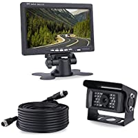 Backup Camera and Rear View Monitor Kit for Truck,Super Night Vison Waterproof Backup Camera and 7 inch High Definition Display for Car Reversing System