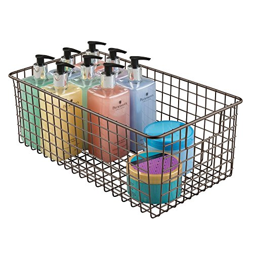 mDesign Farmhouse Decor Metal Wire Bathroom Organizer Storage Bin Basket - for Cabinets, Shelves, Countertops, Bedroom, Kitchen, Laundry Room, Closet, Garage - 16 x 9 x 6 in. - Bronze