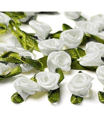 Ajetex 100pcs Satin Ribbon Rose Flower 12mm Wedding Appliques White